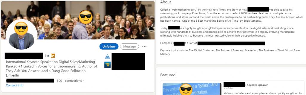 Example optimized LinkedIn Profile